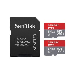 2 PACK - SANDISK ULTRA 64GB MICRO SDXC UHS-I MEMORY CARD WITH ADAPTER 80MB/s